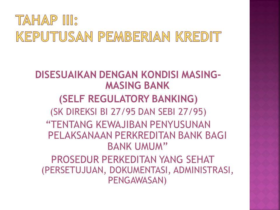 """DISESUAIKAN DENGAN KONDISI MASING- MASING BANK (SELF REGULATORY BANKING) (SK DIREKSI BI 27/95 DAN SEBI 27/95) """"TENTANG KEWAJIBAN PENYUSUNAN PELAKSANAA"""