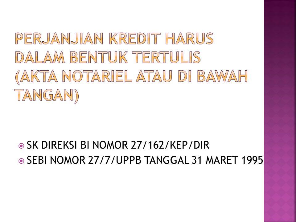  SK DIREKSI BI NOMOR 27/162/KEP/DIR  SEBI NOMOR 27/7/UPPB TANGGAL 31 MARET 1995