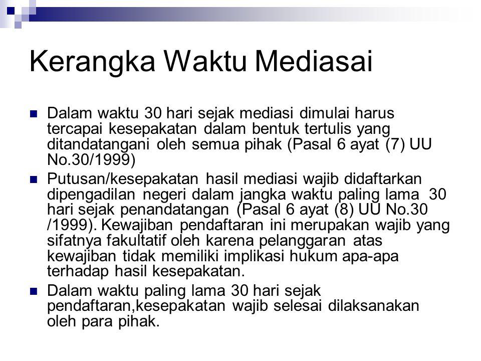 Kerangka Waktu Mediasai Dalam waktu 30 hari sejak mediasi dimulai harus tercapai kesepakatan dalam bentuk tertulis yang ditandatangani oleh semua piha