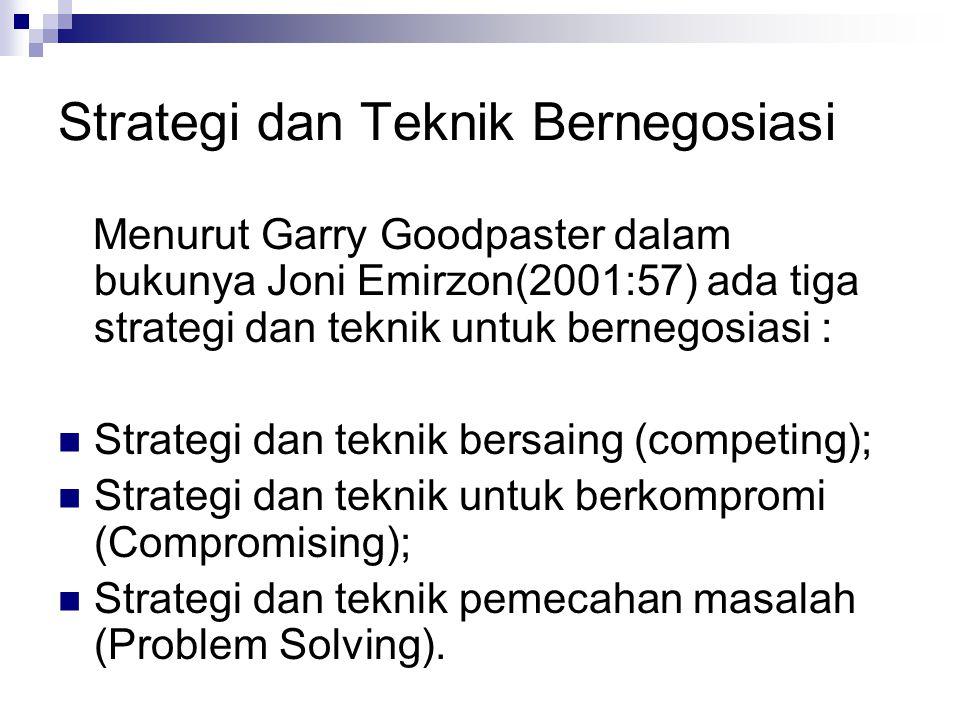Strategi dan Teknik Bernegosiasi Menurut Garry Goodpaster dalam bukunya Joni Emirzon(2001:57) ada tiga strategi dan teknik untuk bernegosiasi : Strate