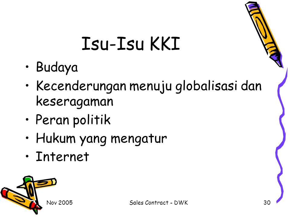 Nov 2005Sales Contract - DWK30 Isu-Isu KKI Budaya Kecenderungan menuju globalisasi dan keseragaman Peran politik Hukum yang mengatur Internet