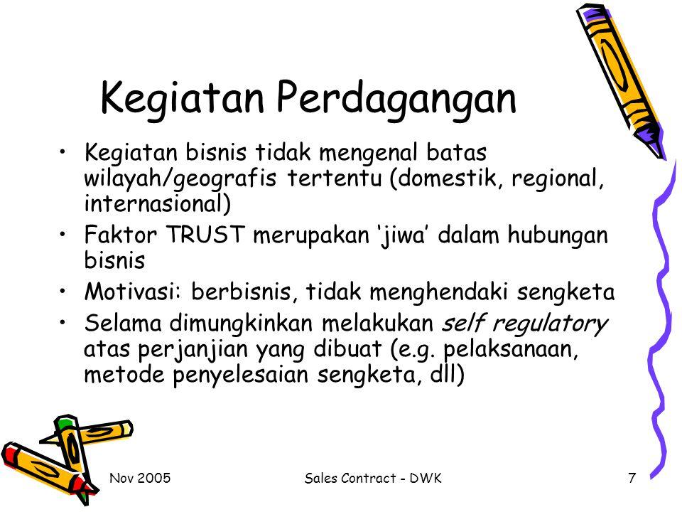 Nov 2005Sales Contract - DWK7 Kegiatan Perdagangan Kegiatan bisnis tidak mengenal batas wilayah/geografis tertentu (domestik, regional, internasional)