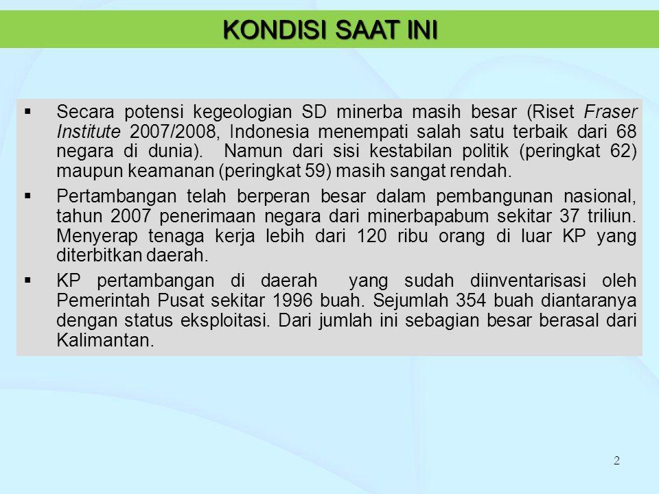  Secara potensi kegeologian SD minerba masih besar (Riset Fraser Institute 2007/2008, Indonesia menempati salah satu terbaik dari 68 negara di dunia)