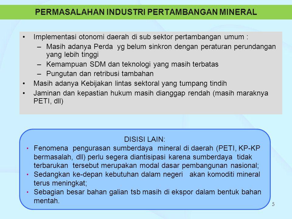 PERMASALAHAN INDUSTRI PERTAMBANGAN MINERAL Implementasi otonomi daerah di sub sektor pertambangan umum : –Masih adanya Perda yg belum sinkron dengan p