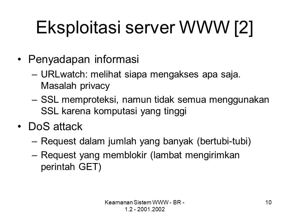 Keamanan Sistem WWW - BR - 1.2 - 2001.2002 10 Eksploitasi server WWW [2] Penyadapan informasi –URLwatch: melihat siapa mengakses apa saja. Masalah pri