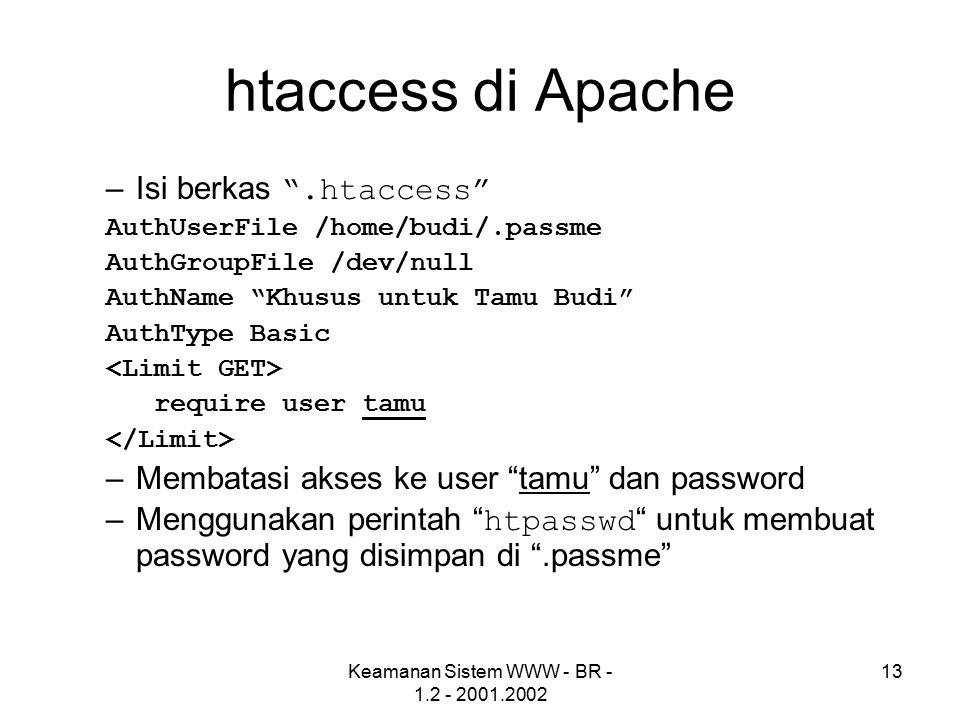 Keamanan Sistem WWW - BR - 1.2 - 2001.2002 13 htaccess di Apache –Isi berkas .htaccess AuthUserFile /home/budi/.passme AuthGroupFile /dev/null AuthName Khusus untuk Tamu Budi AuthType Basic require user tamu –Membatasi akses ke user tamu dan password –Menggunakan perintah htpasswd untuk membuat password yang disimpan di .passme