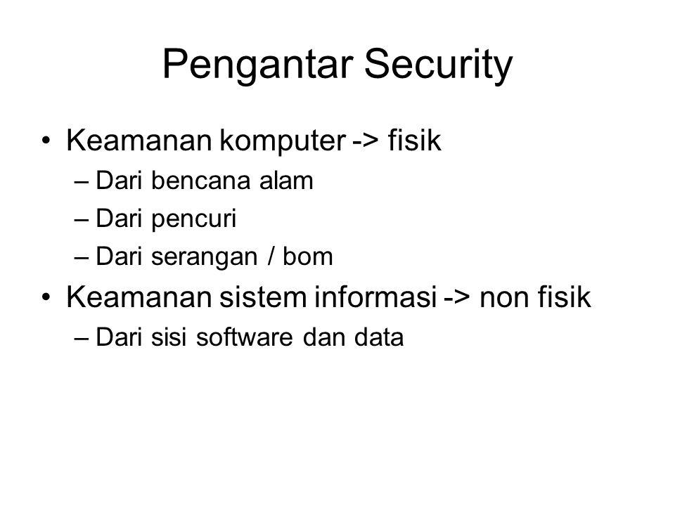 Pengantar Security Keamanan komputer -> fisik –Dari bencana alam –Dari pencuri –Dari serangan / bom Keamanan sistem informasi -> non fisik –Dari sisi software dan data