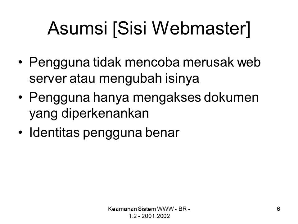 Keamanan Sistem WWW - BR - 1.2 - 2001.2002 6 Asumsi [Sisi Webmaster] Pengguna tidak mencoba merusak web server atau mengubah isinya Pengguna hanya mengakses dokumen yang diperkenankan Identitas pengguna benar