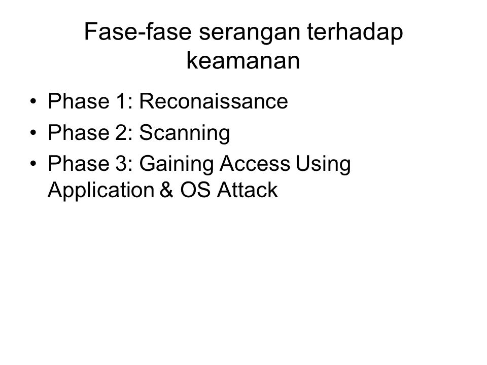 Fase-fase serangan terhadap keamanan Phase 1: Reconaissance Phase 2: Scanning Phase 3: Gaining Access Using Application & OS Attack