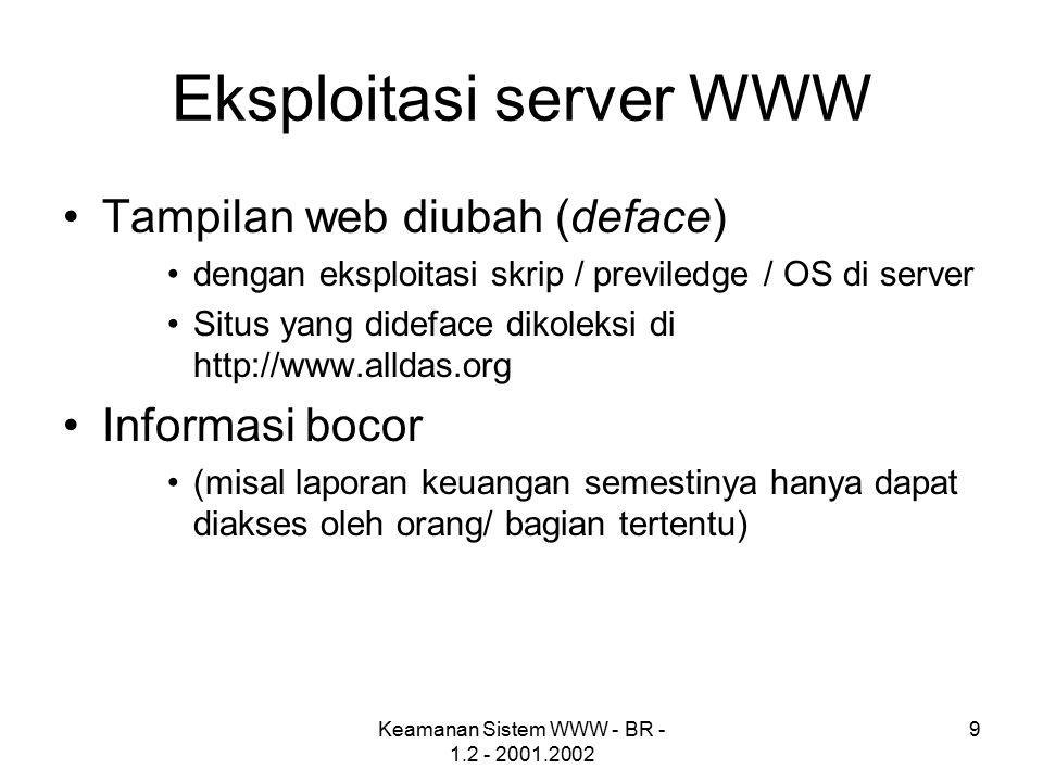 Kelemahan security pada aplikasi web Keamanan server juga menjadi hal penting dalam hal keamanan aplikasi web Berikut adalah beberapa kesalahan konfigurasi pada server :  Lubang keamanan yang tidak ditambal (patched)  Ijin file dan direktori yang tidak baik  Account default dengan password default