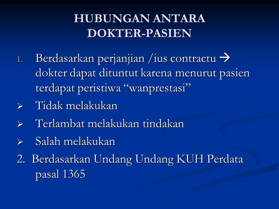 """HUBUNGAN ANTARA DOKTER-PASIEN 1. Berdasarkan perjanjian /ius contractu  dokter dapat dituntut karena menurut pasien terdapat peristiwa """"wanprestasi"""""""
