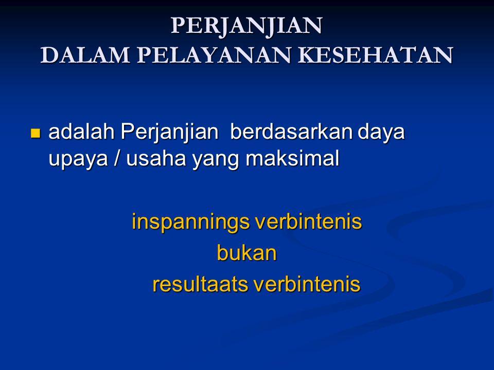 PERJANJIAN DALAM PELAYANAN KESEHATAN adalah Perjanjian berdasarkan daya upaya / usaha yang maksimal adalah Perjanjian berdasarkan daya upaya / usaha y