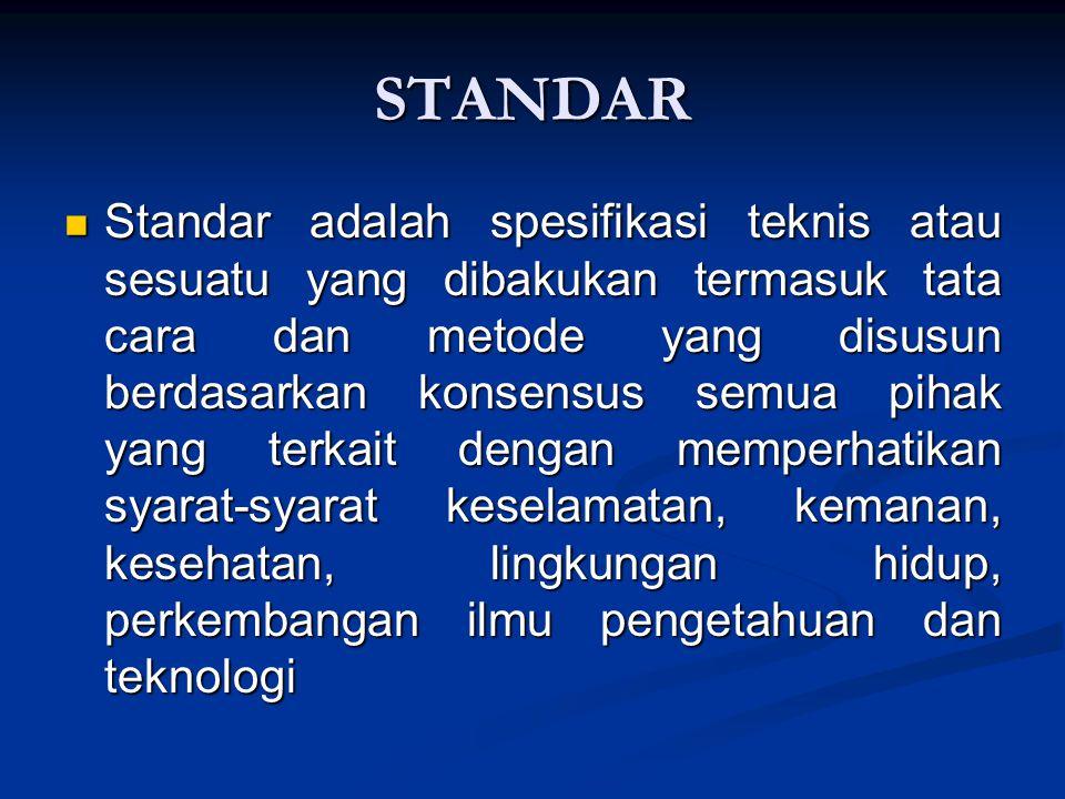 STANDAR Standar adalah spesifikasi teknis atau sesuatu yang dibakukan termasuk tata cara dan metode yang disusun berdasarkan konsensus semua pihak yan