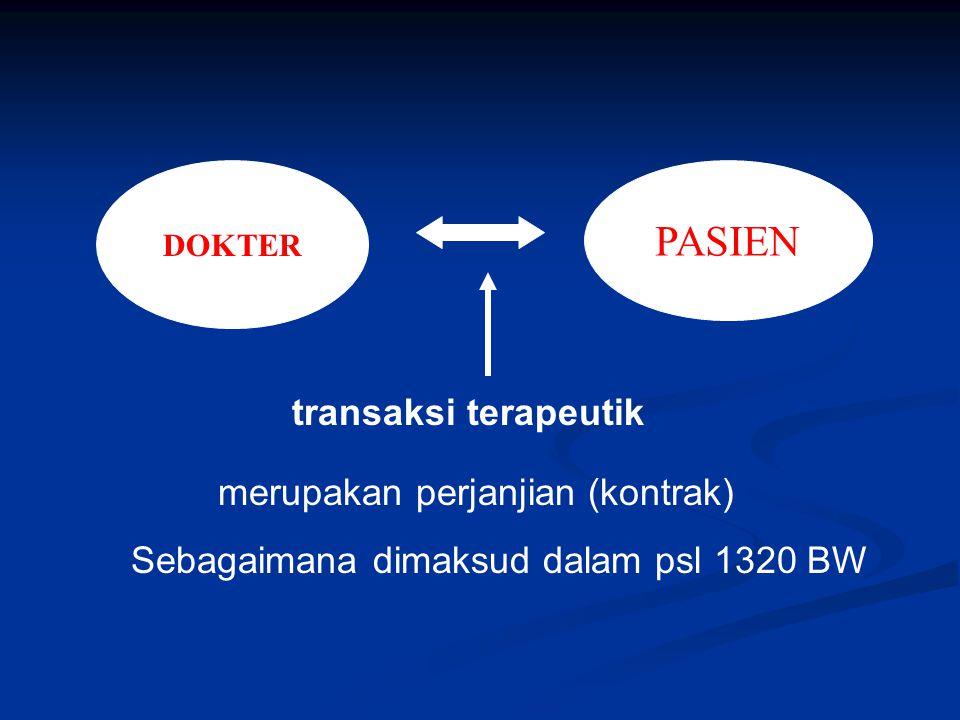 DOKTER PASIEN transaksi terapeutik merupakan perjanjian (kontrak) Sebagaimana dimaksud dalam psl 1320 BW