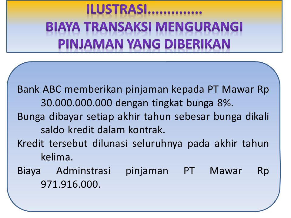 Bank ABC memberikan pinjaman kepada PT Mawar Rp 30.000.000.000 dengan tingkat bunga 8%.