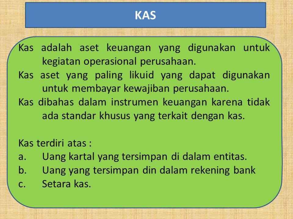 Kas adalah aset keuangan yang digunakan untuk kegiatan operasional perusahaan.