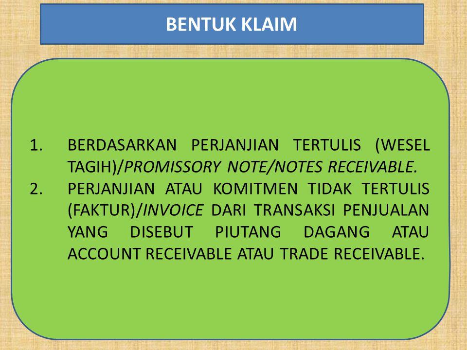1.BERDASARKAN PERJANJIAN TERTULIS (WESEL TAGIH)/PROMISSORY NOTE/NOTES RECEIVABLE.