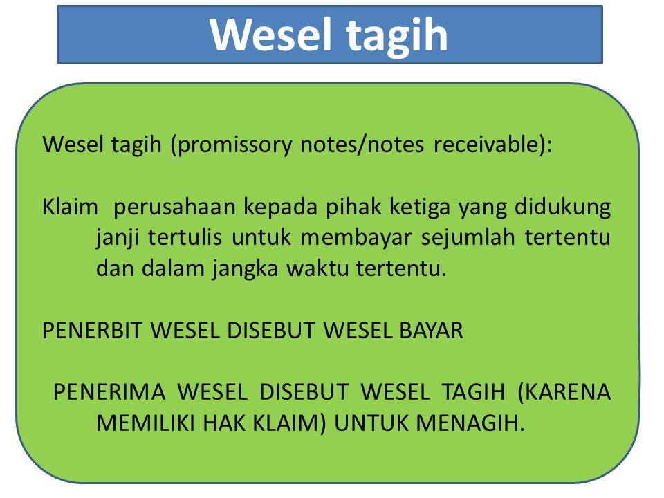 Wesel tagih (promissory notes/notes receivable): Klaim perusahaan kepada pihak ketiga yang didukung janji tertulis untuk membayar sejumlah tertentu dan dalam jangka waktu tertentu.