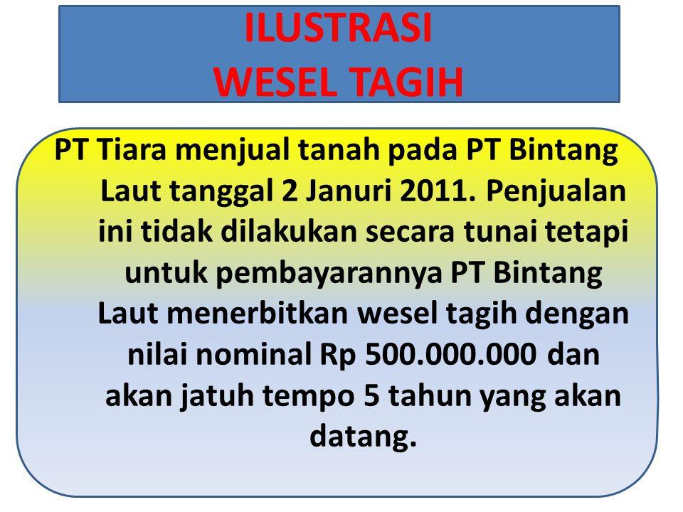 PT Tiara menjual tanah pada PT Bintang Laut tanggal 2 Januri 2011.