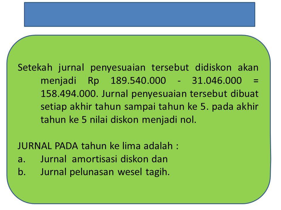 Setekah jurnal penyesuaian tersebut didiskon akan menjadi Rp 189.540.000 - 31.046.000 = 158.494.000.