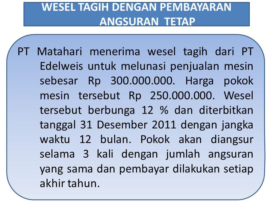 PT Matahari menerima wesel tagih dari PT Edelweis untuk melunasi penjualan mesin sebesar Rp 300.000.000.