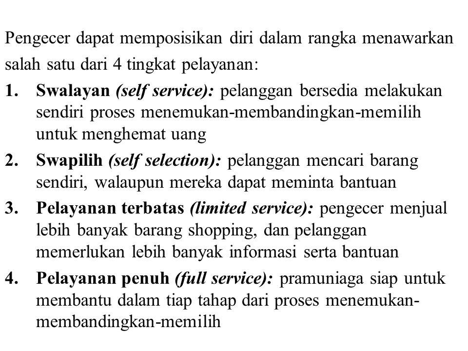 Pengecer dapat memposisikan diri dalam rangka menawarkan salah satu dari 4 tingkat pelayanan: 1.Swalayan (self service): pelanggan bersedia melakukan
