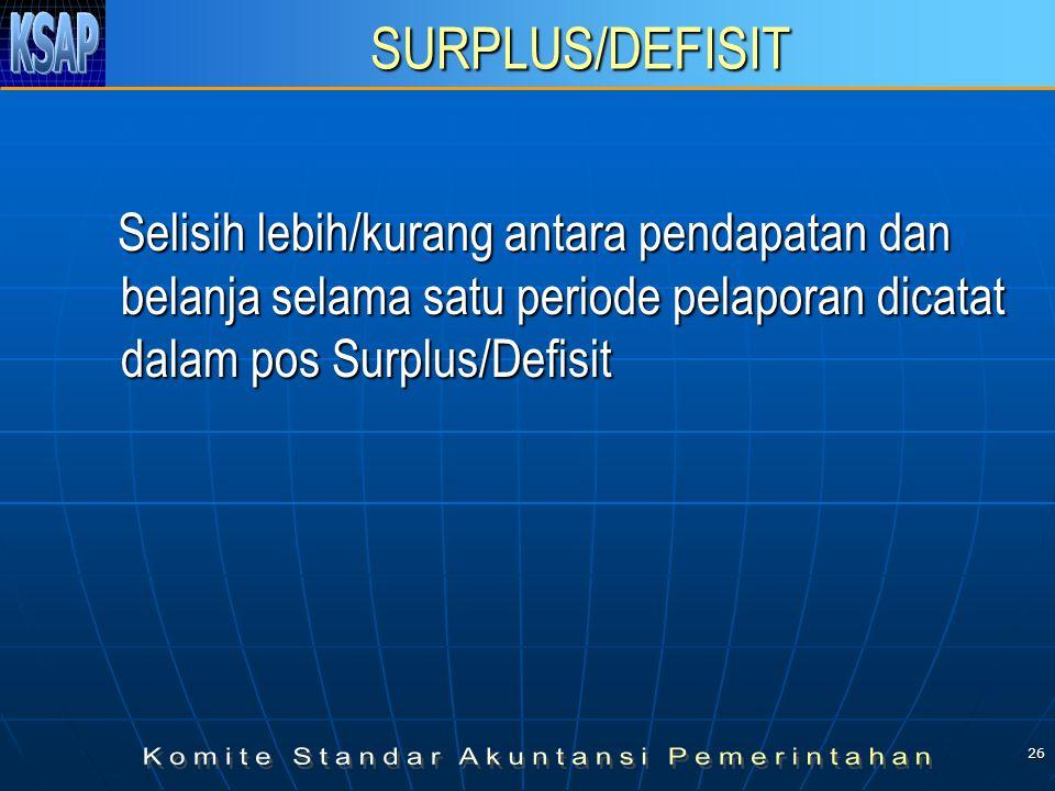 26 SURPLUS/DEFISIT Selisih lebih/kurang antara pendapatan dan belanja selama satu periode pelaporan dicatat dalam pos Surplus/Defisit Selisih lebih/kurang antara pendapatan dan belanja selama satu periode pelaporan dicatat dalam pos Surplus/Defisit