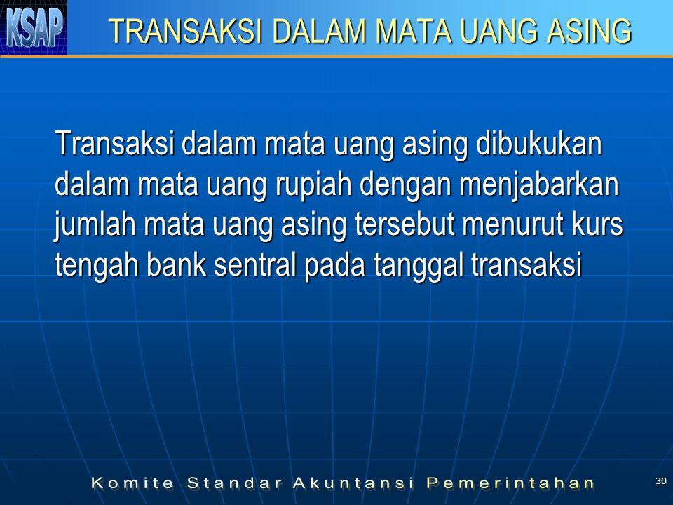 30 TRANSAKSI DALAM MATA UANG ASING Transaksi dalam mata uang asing dibukukan dalam mata uang rupiah dengan menjabarkan jumlah mata uang asing tersebut menurut kurs tengah bank sentral pada tanggal transaksi