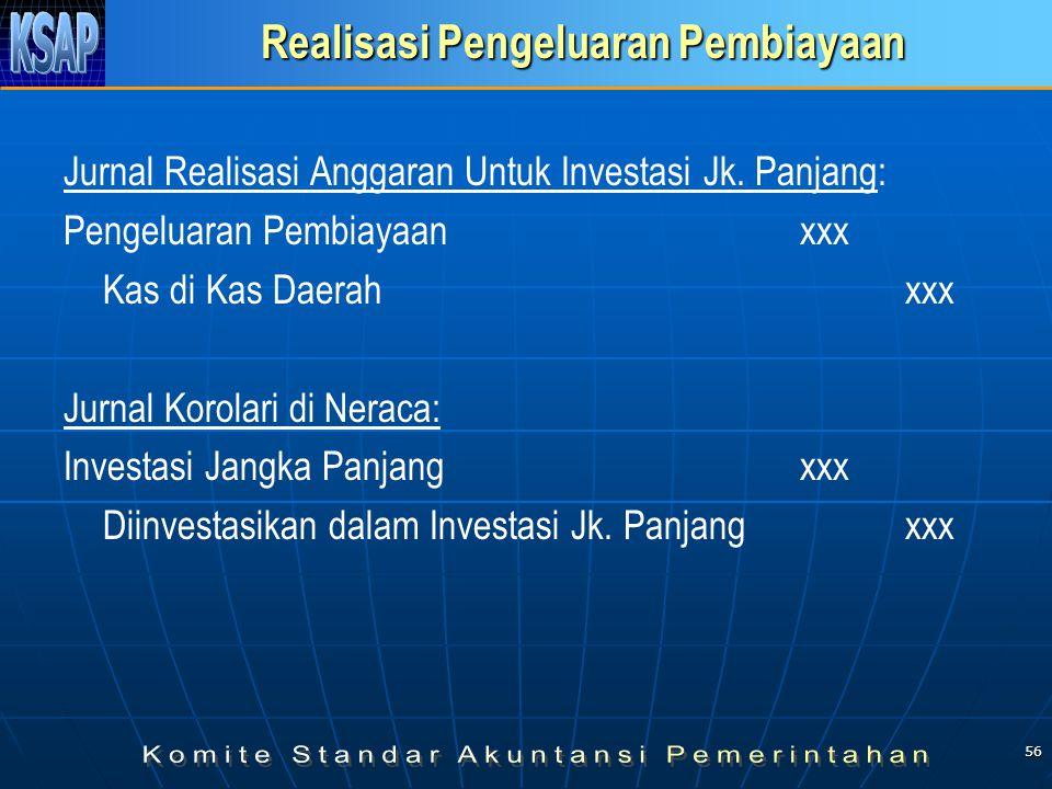 56 Realisasi Pengeluaran Pembiayaan Jurnal Realisasi Anggaran Untuk Investasi Jk. Panjang: Pengeluaran Pembiayaanxxx Kas di Kas Daerahxxx Jurnal Korol