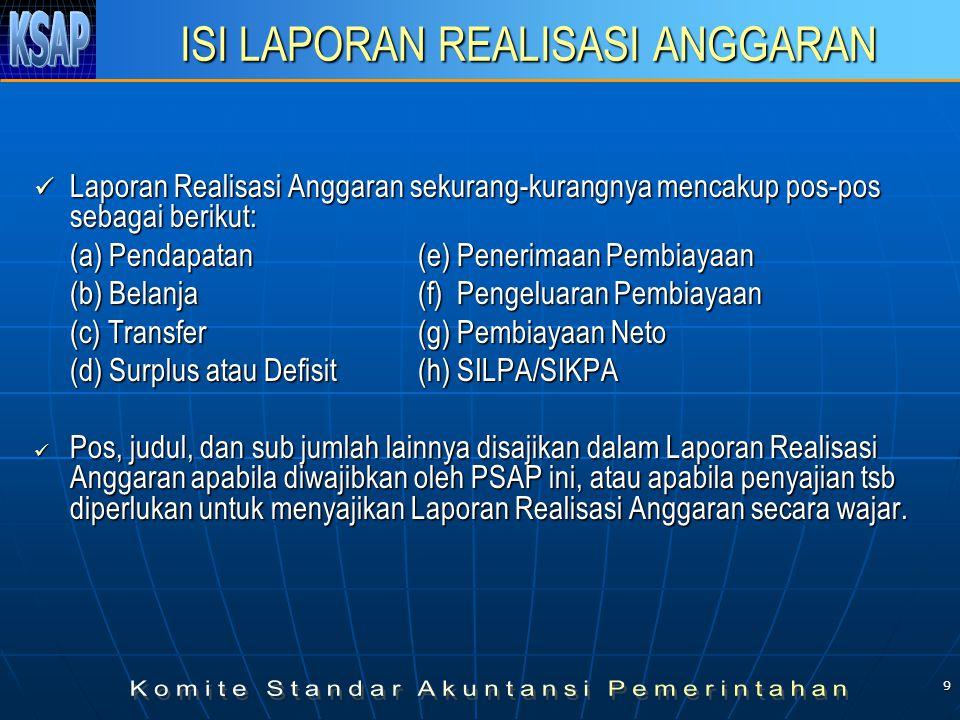 9 ISI LAPORAN REALISASI ANGGARAN Laporan Realisasi Anggaran sekurang-kurangnya mencakup pos-pos sebagai berikut: Laporan Realisasi Anggaran sekurang-kurangnya mencakup pos-pos sebagai berikut: (a) Pendapatan(e) Penerimaan Pembiayaan (b) Belanja(f) Pengeluaran Pembiayaan (c) Transfer(g) Pembiayaan Neto (d) Surplus atau Defisit(h) SILPA/SIKPA Pos, judul, dan sub jumlah lainnya disajikan dalam Laporan Realisasi Anggaran apabila diwajibkan oleh PSAP ini, atau apabila penyajian tsb diperlukan untuk menyajikan Laporan Realisasi Anggaran secara wajar.