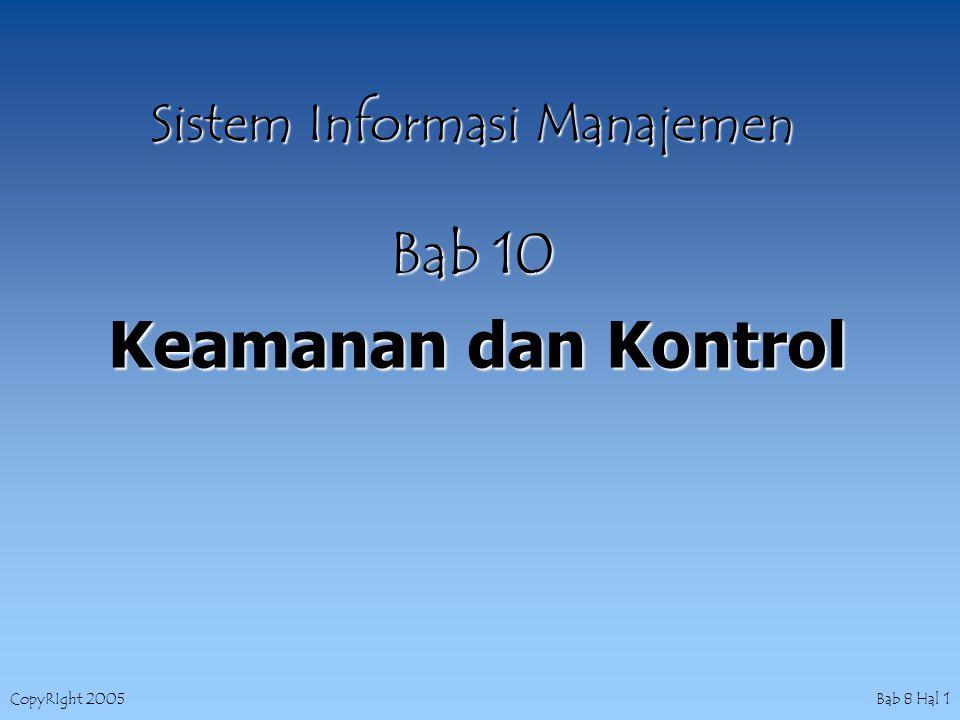 CopyRIght 2005 Bab 8 Hal 1 Sistem Informasi Manajemen Bab 10 Keamanan dan Kontrol