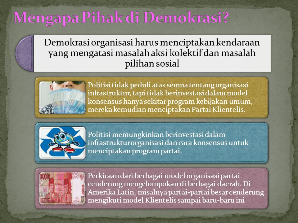 Masyarakat-masyarakat komunis dan market-market dari para partai adalah paling sedikit menginginkan membangun organisasi politik.