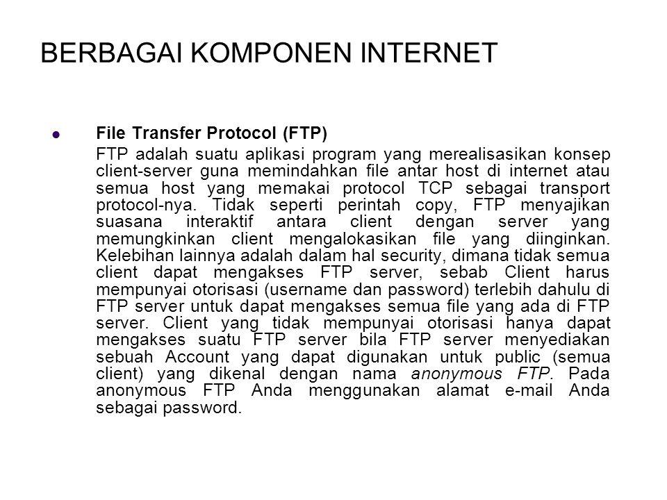 BERBAGAI KOMPONEN INTERNET File Transfer Protocol (FTP) FTP adalah suatu aplikasi program yang merealisasikan konsep client-server guna memindahkan file antar host di internet atau semua host yang memakai protocol TCP sebagai transport protocol-nya.