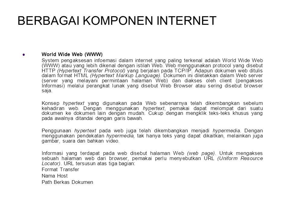 BERBAGAI KOMPONEN INTERNET World Wide Web (WWW) System pengaksesan infoemasi dalam internet yang paling terkenal adalah World Wide Web (WWW) atau yang lebih dikenal dengan istilah Web.