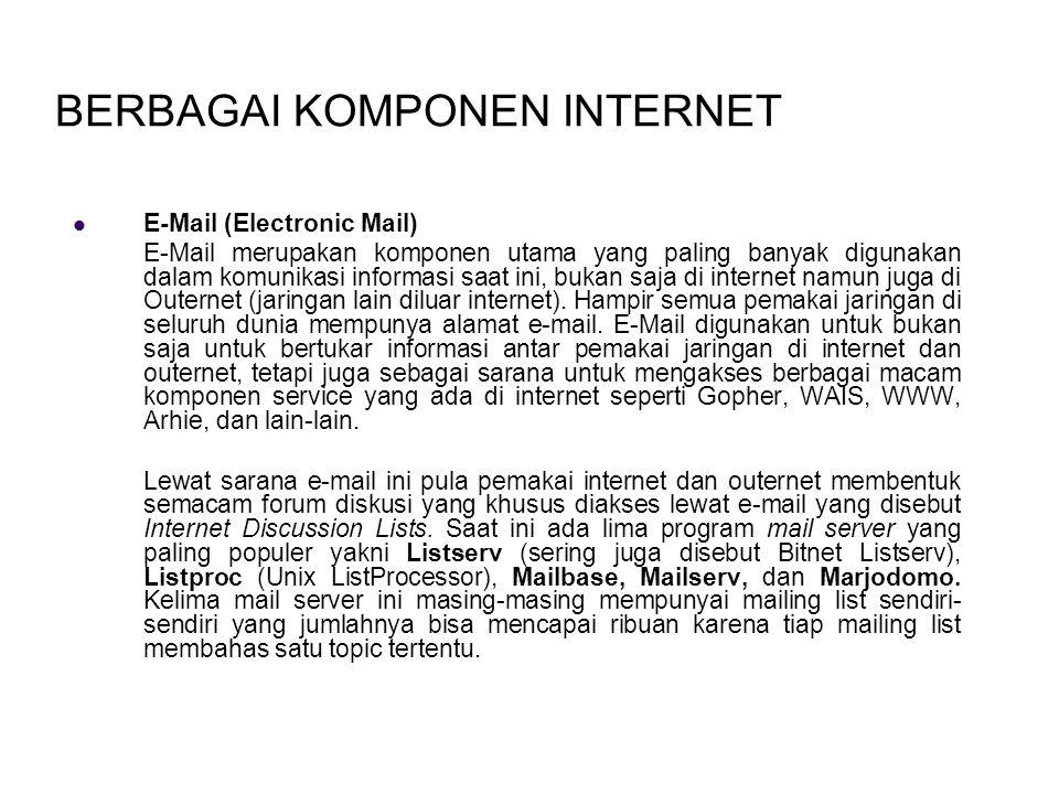 BERBAGAI KOMPONEN INTERNET E-Mail (Electronic Mail) E-Mail merupakan komponen utama yang paling banyak digunakan dalam komunikasi informasi saat ini, bukan saja di internet namun juga di Outernet (jaringan lain diluar internet).