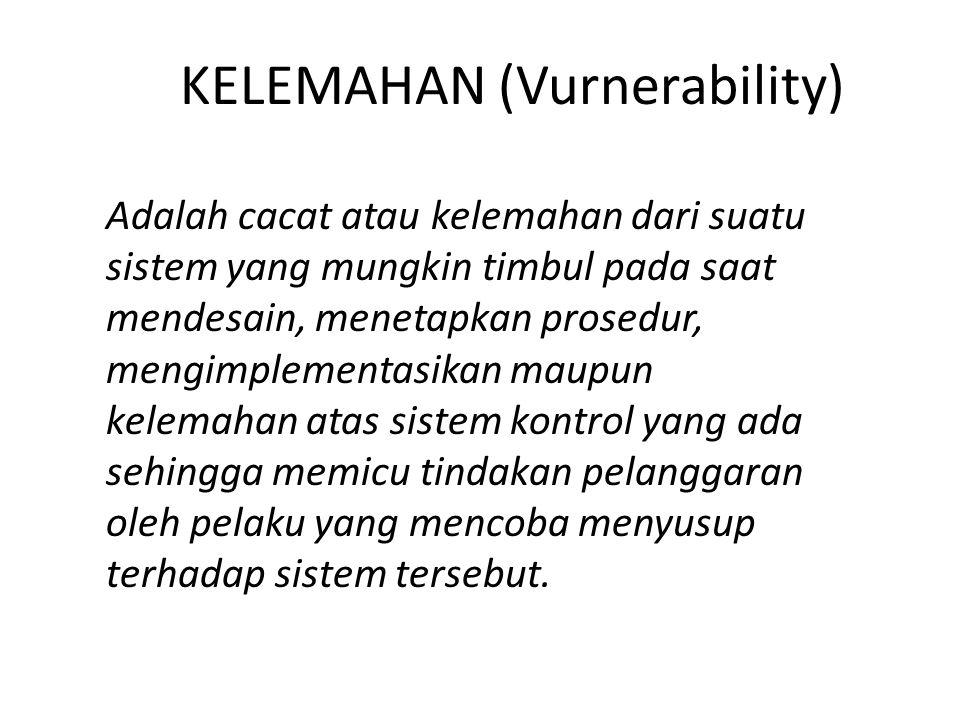 KELEMAHAN (Vurnerability) Adalah cacat atau kelemahan dari suatu sistem yang mungkin timbul pada saat mendesain, menetapkan prosedur, mengimplementasikan maupun kelemahan atas sistem kontrol yang ada sehingga memicu tindakan pelanggaran oleh pelaku yang mencoba menyusup terhadap sistem tersebut.