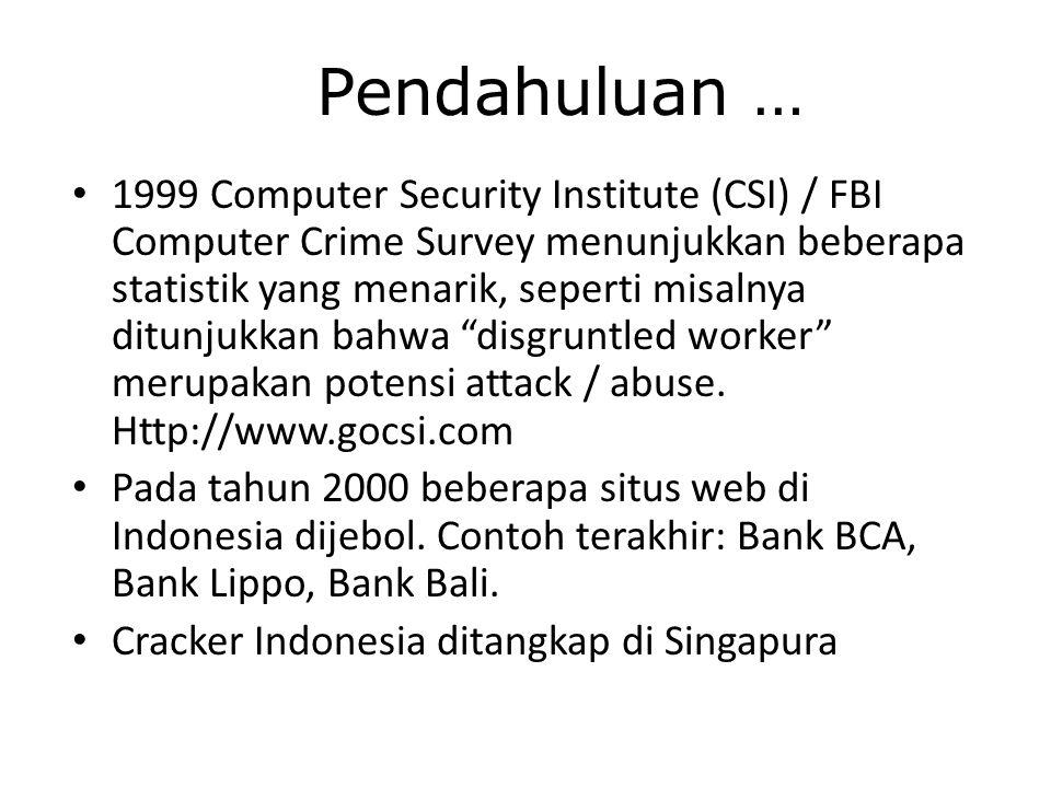 Pendahuluan … 1999 Computer Security Institute (CSI) / FBI Computer Crime Survey menunjukkan beberapa statistik yang menarik, seperti misalnya ditunjukkan bahwa disgruntled worker merupakan potensi attack / abuse.