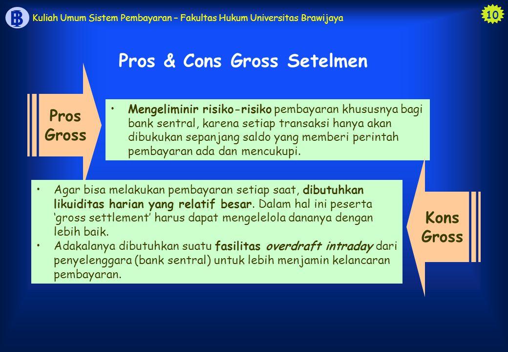 10 B I Kuliah Umum Sistem Pembayaran – Fakultas Hukum Universitas Brawijaya Pros & Cons Gross Setelmen Pros Gross Mengeliminir risiko-risiko pembayara