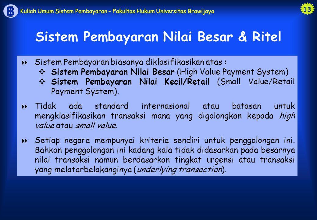 13 B I Kuliah Umum Sistem Pembayaran – Fakultas Hukum Universitas Brawijaya  Sistem Pembayaran biasanya diklasifikasikan atas :  Sistem Pembayaran N