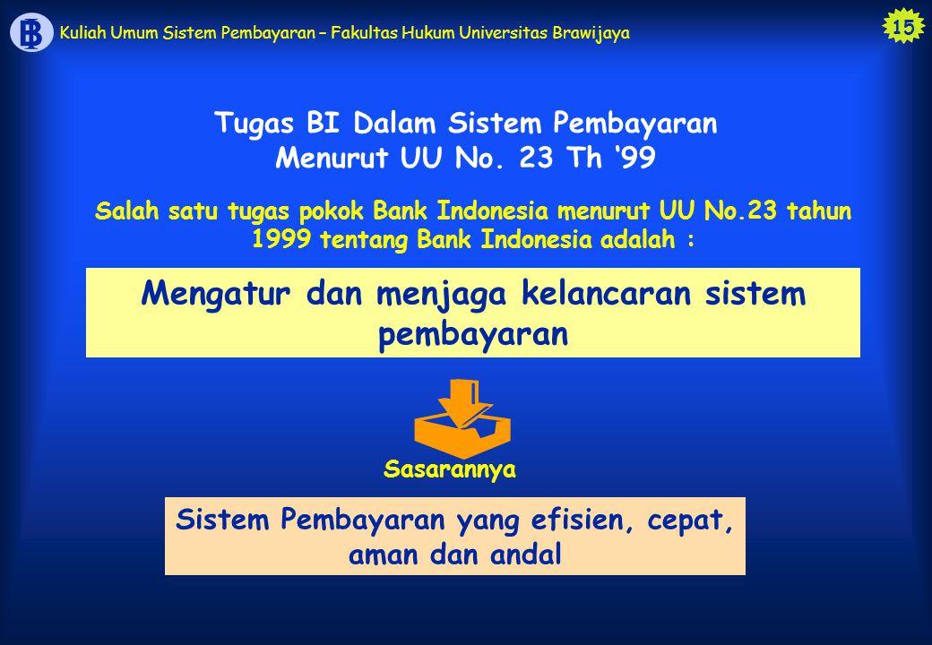 15 B I Kuliah Umum Sistem Pembayaran – Fakultas Hukum Universitas Brawijaya Mengatur dan menjaga kelancaran sistem pembayaran  Sasarannya Sistem Pemb