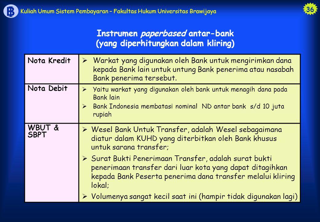 36 B I Kuliah Umum Sistem Pembayaran – Fakultas Hukum Universitas Brawijaya Instrumen paperbased antar-bank (yang diperhitungkan dalam kliring) Nota K