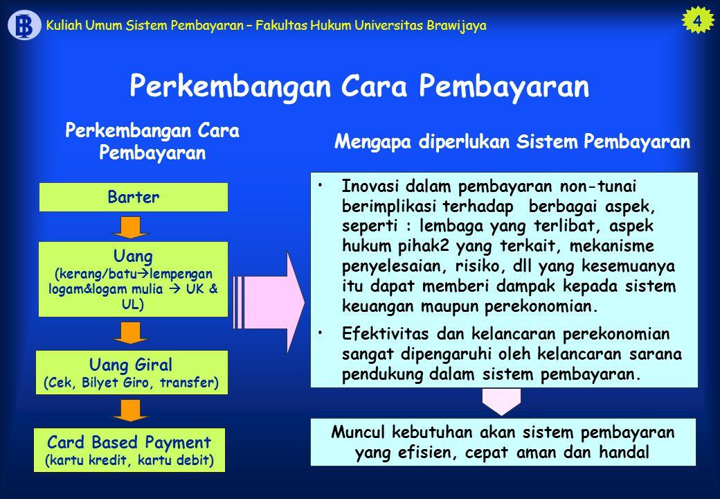 4 B I Kuliah Umum Sistem Pembayaran – Fakultas Hukum Universitas Brawijaya Perkembangan Cara Pembayaran Barter Uang Giral (Cek, Bilyet Giro, transfer)