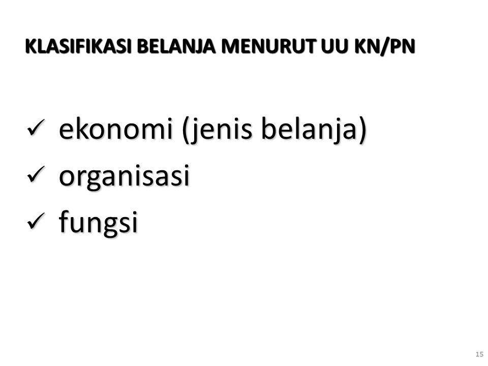 15 KLASIFIKASI BELANJA MENURUT UU KN/PN ekonomi (jenis belanja) ekonomi (jenis belanja) organisasi organisasi fungsi fungsi
