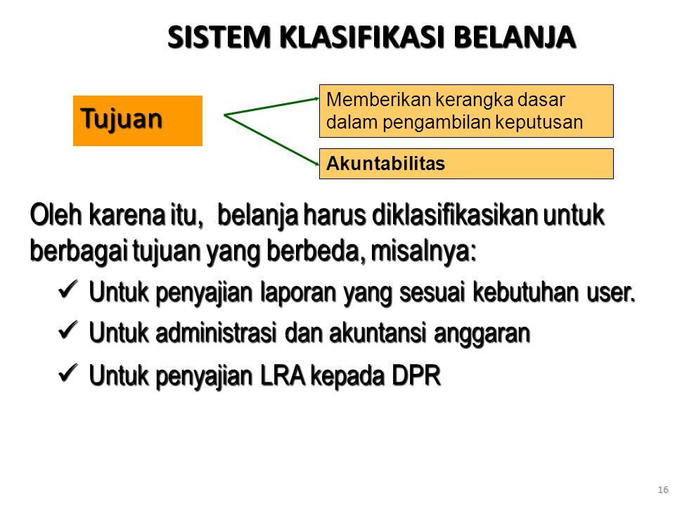 16 SISTEM KLASIFIKASI BELANJA Tujuan Memberikan kerangka dasar dalam pengambilan keputusan Akuntabilitas Oleh karena itu, belanja harus diklasifikasik