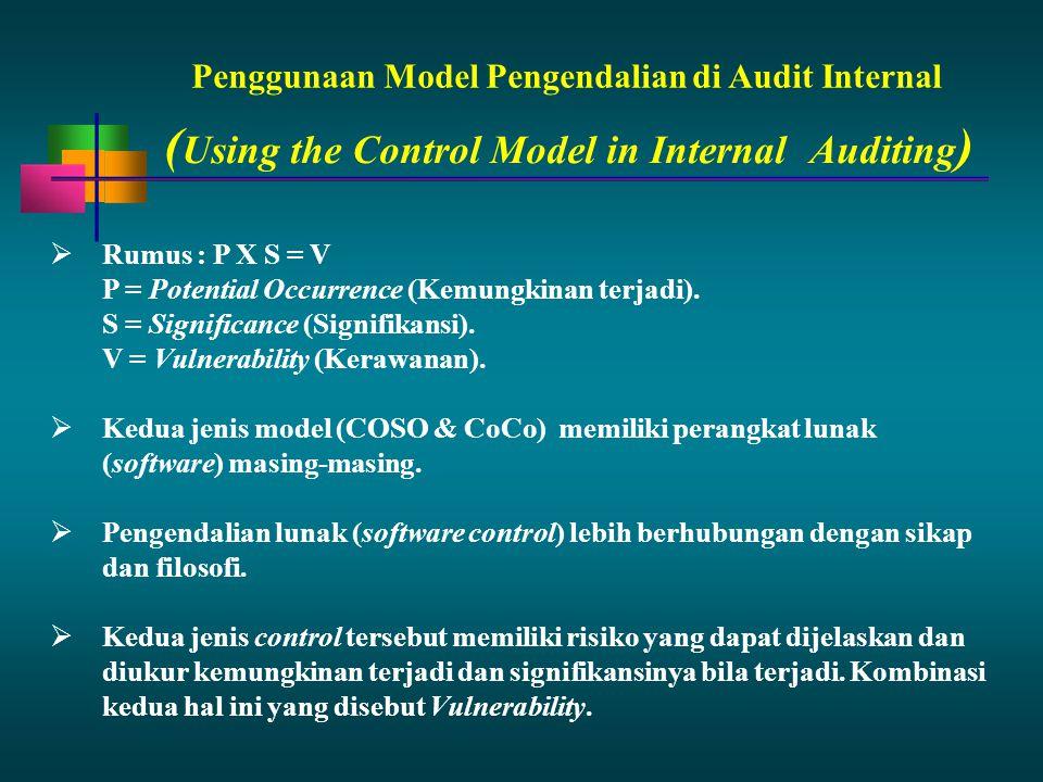 Penggunaan Model Pengendalian di Audit Internal  Rumus : P X S = V P = Potential Occurrence (Kemungkinan terjadi). S = Significance (Signifikansi). V