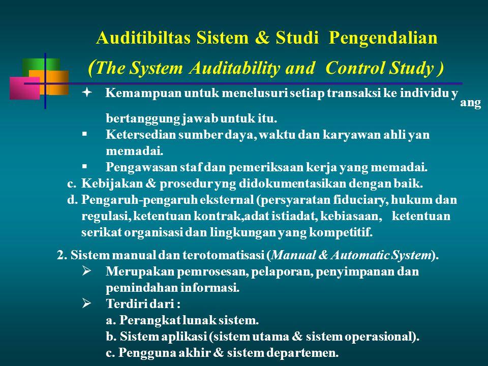 Auditibiltas Sistem & StudiPengendalian ang bertanggung jawab untuk itu.  Ketersedian sumber daya, waktu dan karyawan ahli yan memadai.  Pengawasan