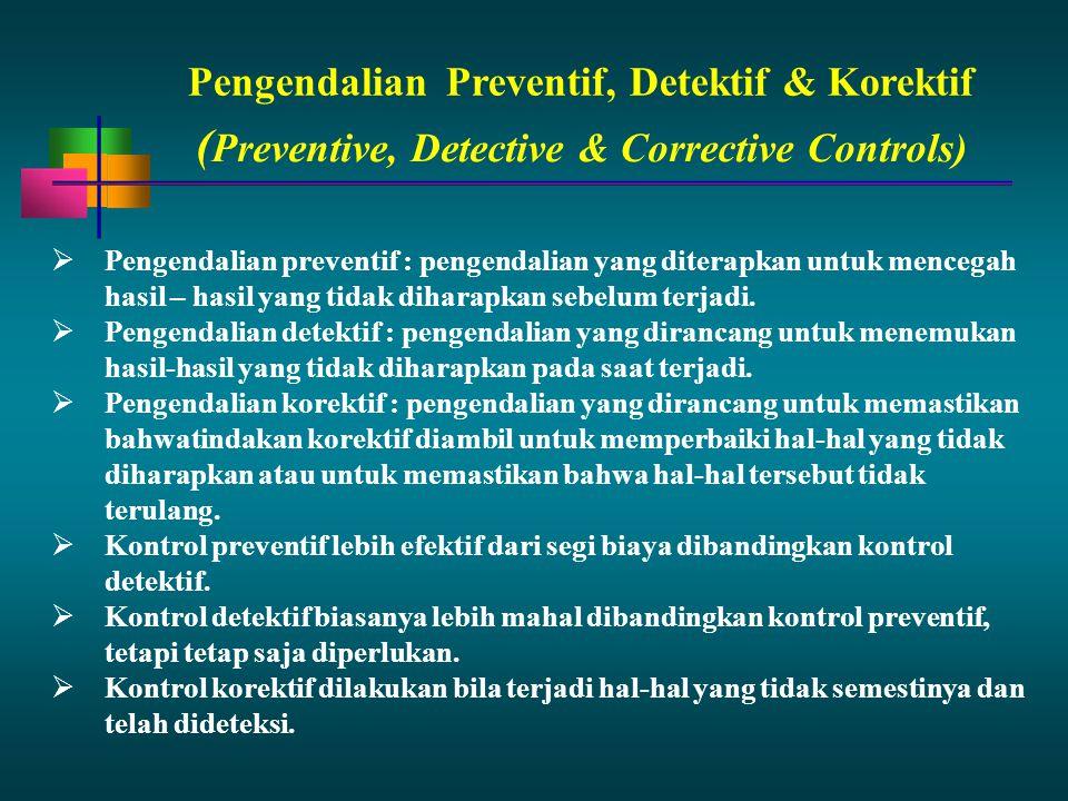 PengendalianPreventif, Detektif & Korektif  Pengendalian preventif : pengendalian yang diterapkan untuk mencegah hasil – hasil yang tidak diharapkan