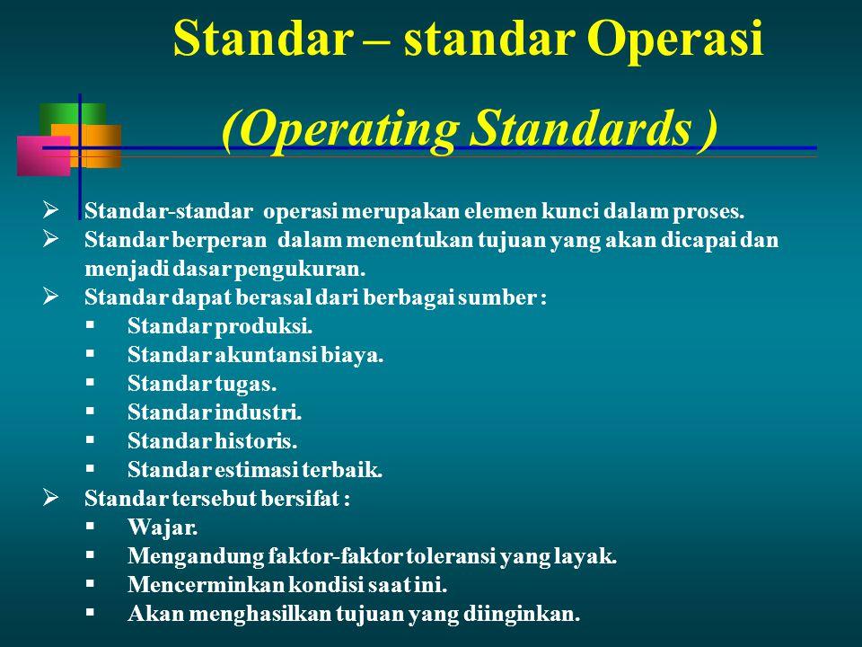 Standar – standar Operasi  Standar-standar operasi merupakan elemen kunci dalam proses.  Standar berperan dalam menentukan tujuan yang akan dicapai