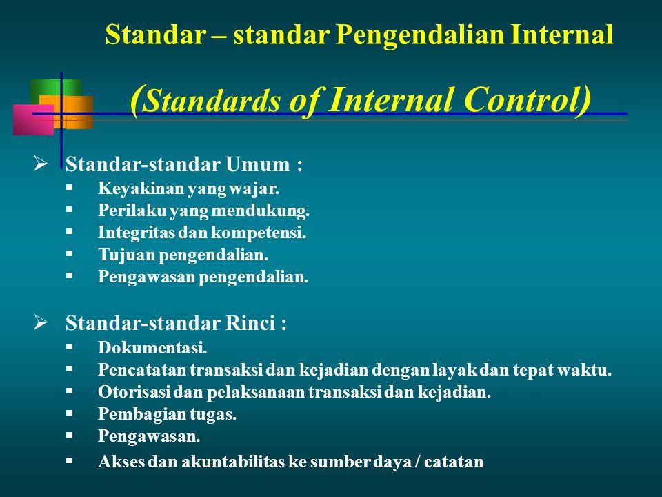 Standar – standar Pengendalian Internal  Standar-standar Umum :  Keyakinan yang wajar.  Perilaku yang mendukung.  Integritas dan kompetensi.  Tuj