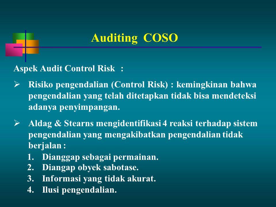 Aspek Audit Control Risk:  Risiko pengendalian (Control Risk) : kemingkinan bahwa pengendalian yang telah ditetapkan tidak bisa mendeteksi adanya pen